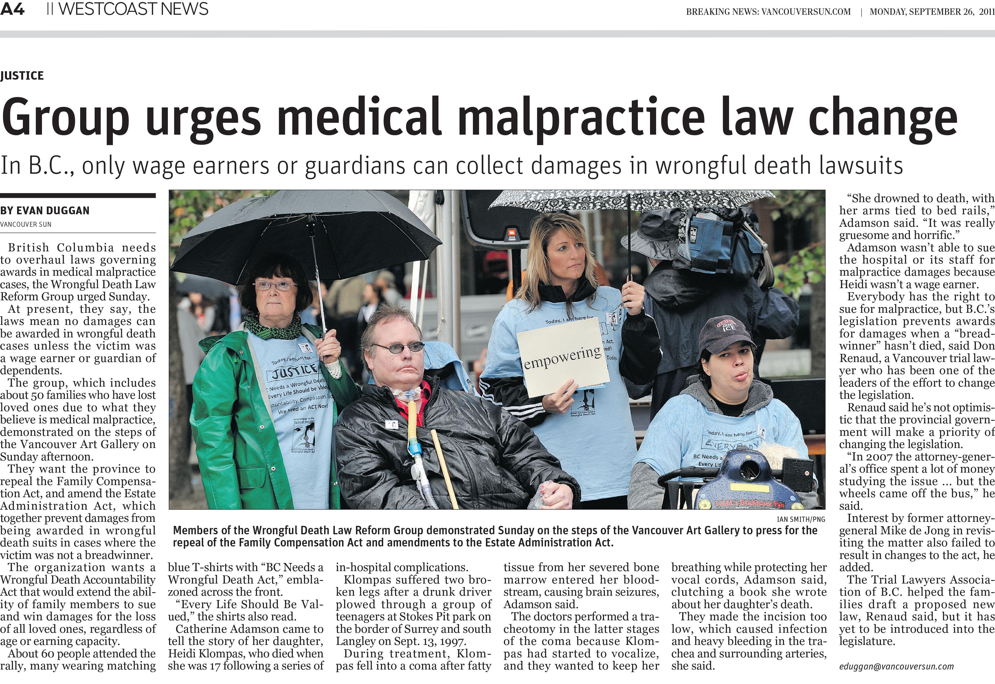 Vancouver_Sun_-_Group_urges_medical_malpractice_law_change_-_26SEP11